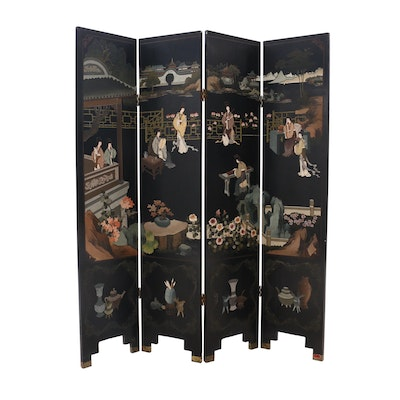 Chinese Coromandel Lacquered Four-Panel Screen, Circa 1980