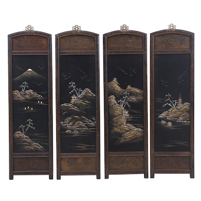 Japanese Mahogany Wall Plaques with Abalone Inlay and Painted Black Lacquer