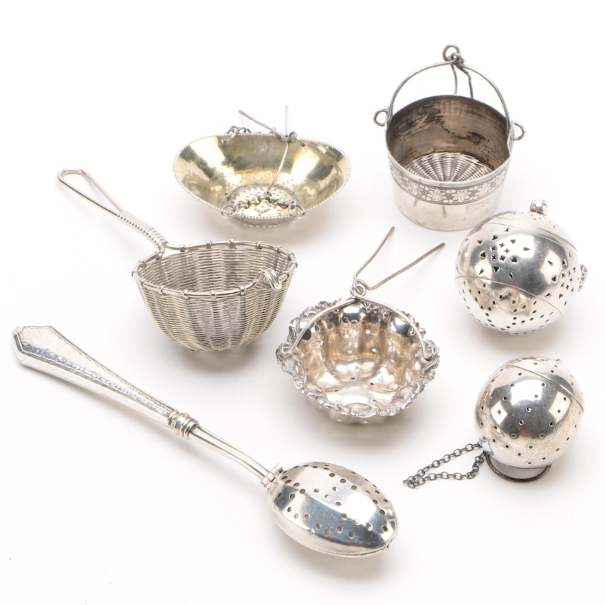Webster Sterling Silver Hinged Spoon tea Strainer and Other Tea Strainers