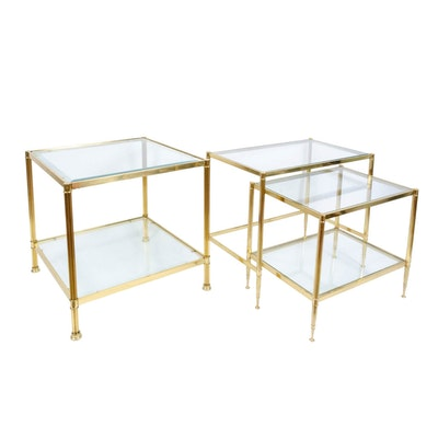 Three Brass and Glass Side Tables, Late 20th Century