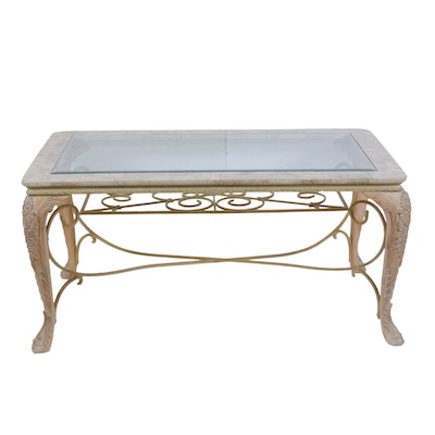 Contemporary Metal-Mounted Blondewood Coffee Table with Glass and Stone Top