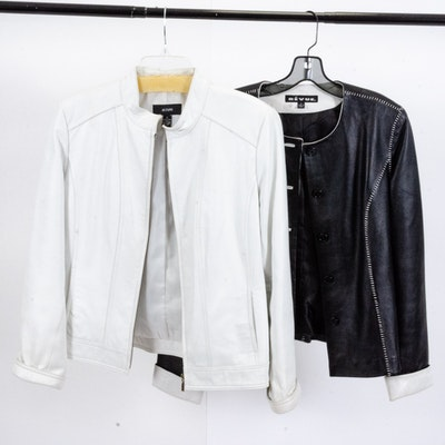 Alfani and Revue Leather Jackets in White Leather and Black Accented in White