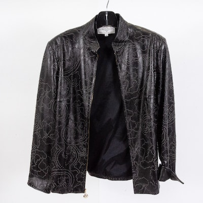 St. John Sport Black Embossed Leather Jacket