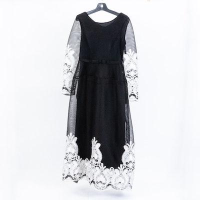 Black Mesh and White Soutache Lace Evening Dress