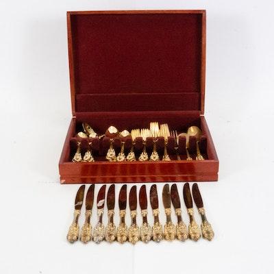 """Godinger """"Baroque"""" Gold-Plated Flatware Set"""