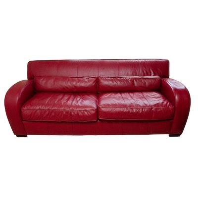 Bernhardt Red Leather Sofa