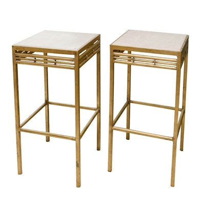 Pair of Contemporary Gilt-Metal and Painted Wood Side Tables