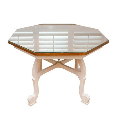Oak and White-Painted Octagonal Dining Table, Late 20th Century