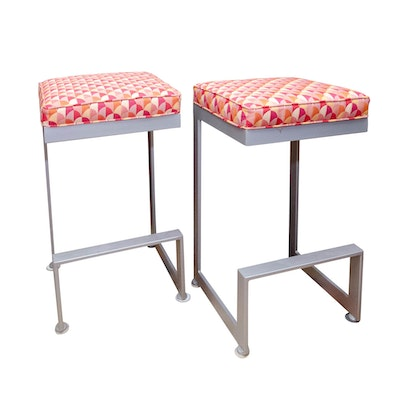 Pair of Modernist Style Metal and Custom-Upholstered Bar Stools