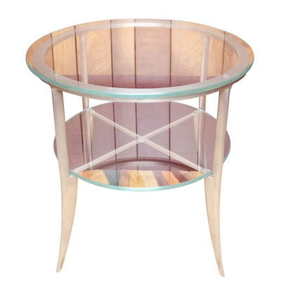 Contemporary Modernist Style Metal and Glass Two-Tier Side Table