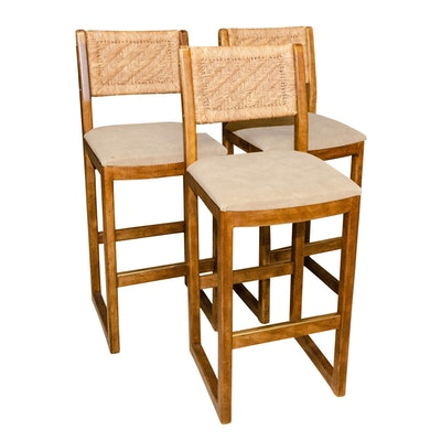 Three Contemporary Woven Rattan and Oak Bar Chairs