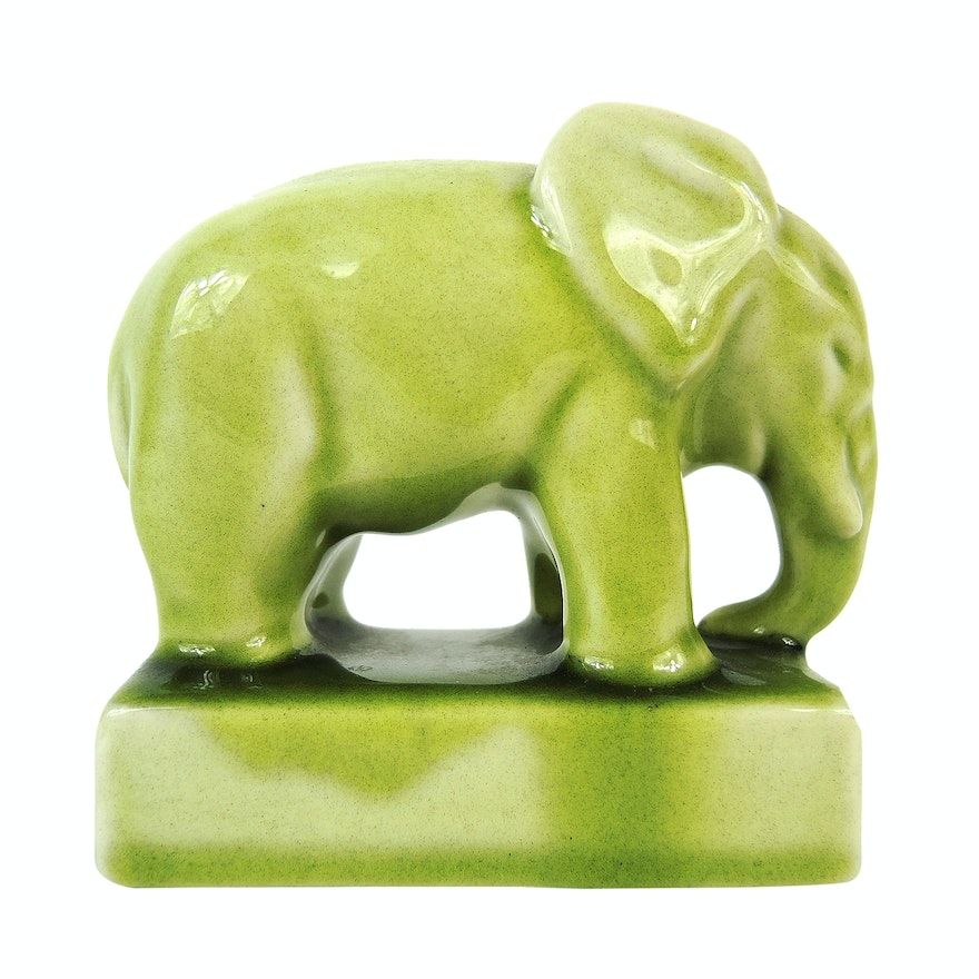 Rookwood Pottery Elephant Paperweight,1945