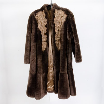 Brown Mouton Fur Coat with Beading and Embroidery