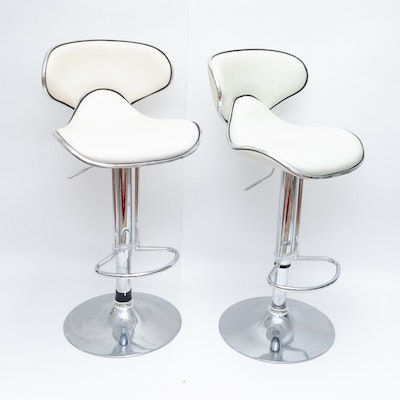 Contemporary Modern Adjustable Scoop Bar Chairs in Faux Leather Upholstery
