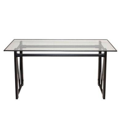Contemporary Glass and Metal Console Table