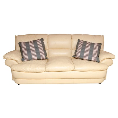 Contemporary Maize Leather Upholstered Sofa