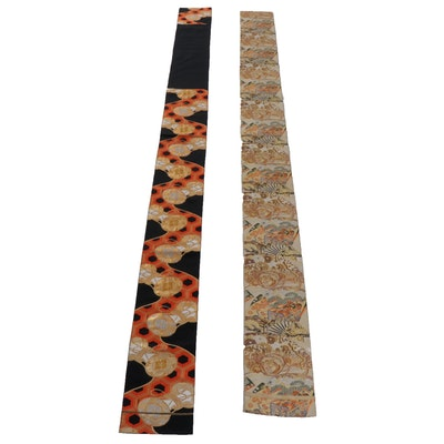 Japanese Silk Brocade Maru and Fukuro Obi