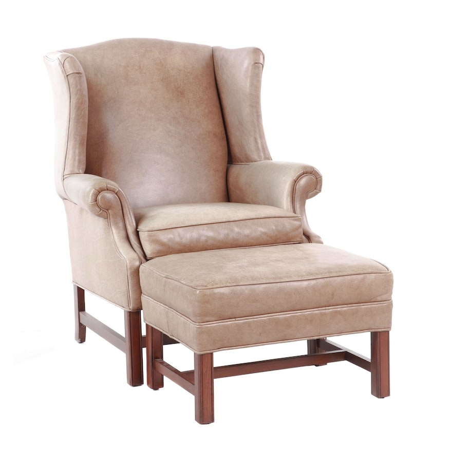 Strange Ethan Allen Leather Upholstered Wingback Chair With Ottoman Contemporary Short Links Chair Design For Home Short Linksinfo