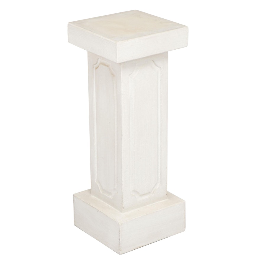 Contemporary Off-White Plaster Pedestal