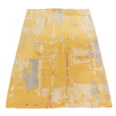 Tufted CB2 Indian Cotton Abstract Area Rug