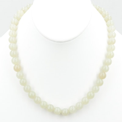 Silver Tone Nephrite Beaded Necklace