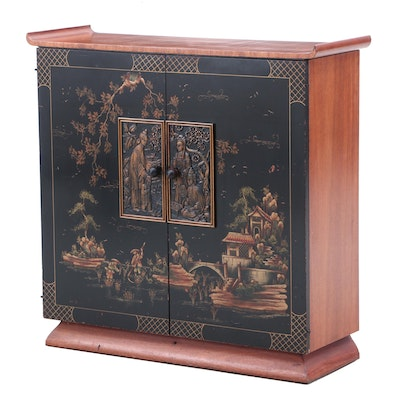 Chinoiserie Wooden Bar Cabinet with Painted Garden Scene, 1960s