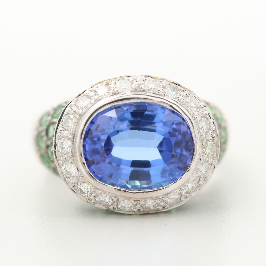 18K White Gold 2.71 CT Tanzanite, Diamond and Diopside Ring