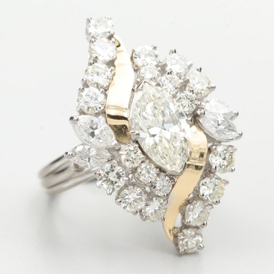 Circa 1970s Silver, Gold and Palladium Alloy 3.90 DWT Diamond Ring