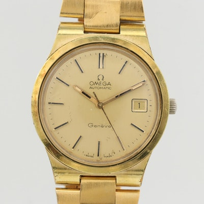 Vintage Omega Genève Gold Plate Automatic Wristwatch, 1973