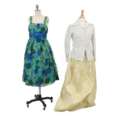 Nelly de Grab New York Metallic Skirt and Shirt with Sleeveless Dress, Vintage