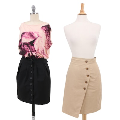 Prada Black Pencil Skirt, Stella McCartney Top, and Akris Beige Pencil Skirt
