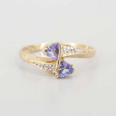 10K Yellow Gold Tanzanite and Diamond Bypass Ring