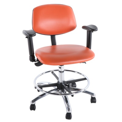 Perch Modern Orange Leather and Metal Rolling Desk Chair, Late 20th Century