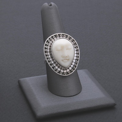 Sterling Silver Carved Bone Ring