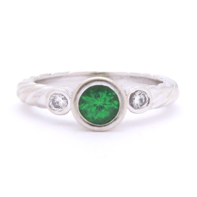 14K White Gold Tsavorite Garnet and Diamond Ring