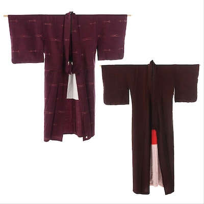 Mid-Century Kimonos Featuring Hand-stitching and Hand Embrodiery