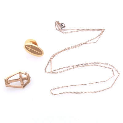 10K Yellow Gold Pins and Necklace Chain