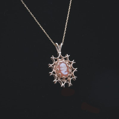 14K Yellow Gold Shell Cameo Necklace