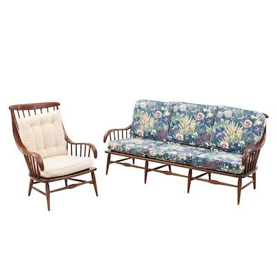 Mid Century Modern Heywood Wakefield Cherry Sofa and Arm Chair, Circa 1950s