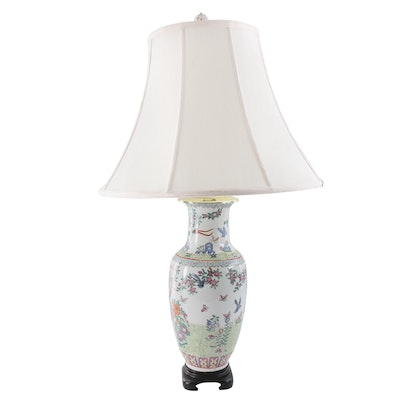 Chinese Ceramic Urn Shaped Table Lamp, Mid to Late 20th Century