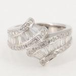 14K White Gold 1.43 CTW Diamond Bypass Ring