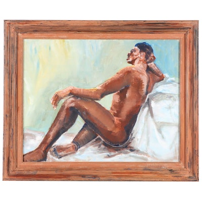 Lounging Male Nude Oil Painting