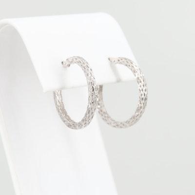 18K White Gold Reticulated Hoop Earrings