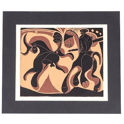 """Pablo Picasso Color Linoleum Cut """"After the Lance"""""""