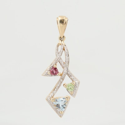 10K Yellow Gold Mixed Gemstone and Diamond Pendant with White Gold Accents