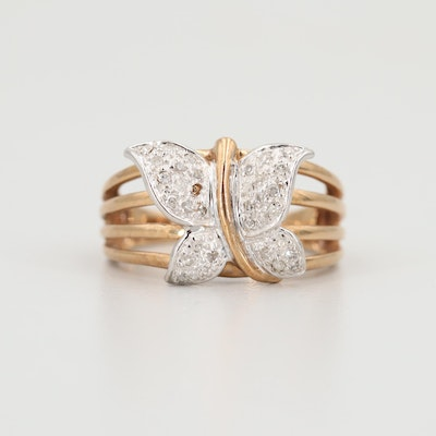 10K Yellow Gold Diamond Butterfly Motif Ring with Rose and White Gold Accents