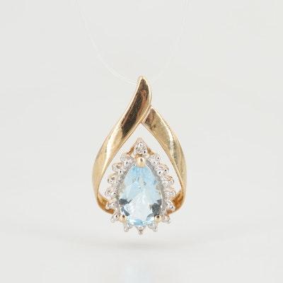 10K Yellow Gold Aquamarine and Diamond Pendant