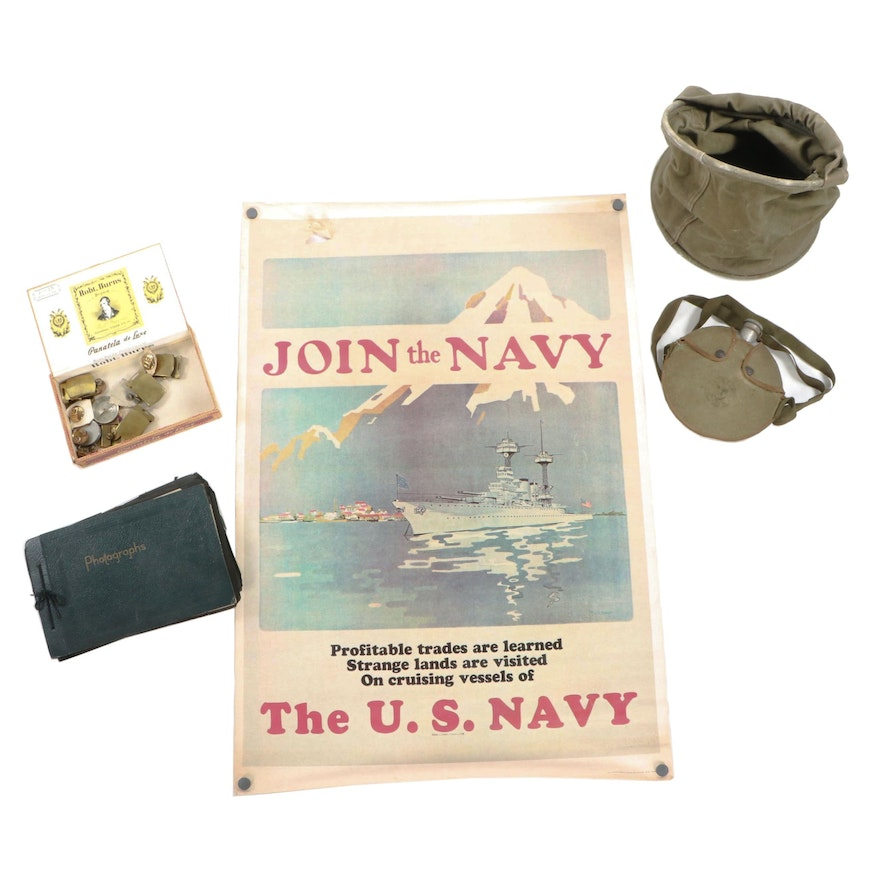 US Military Ephemera including WWII Canteen, Photographs, and Uniform  Buttons