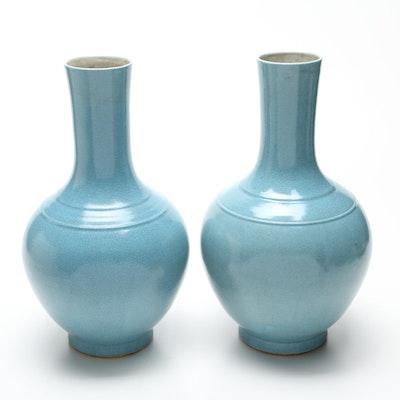 Pair of Light Blue Crackle Vases, Vintage
