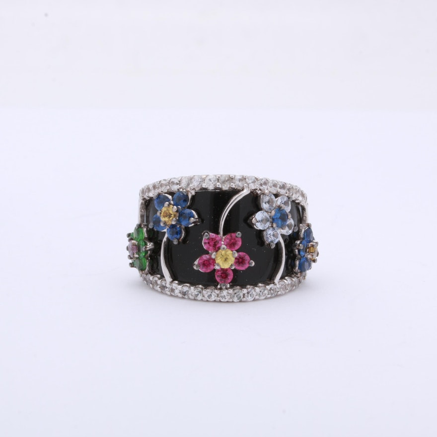 14K White Gold Multi Colored Sapphires and Onyx Ring